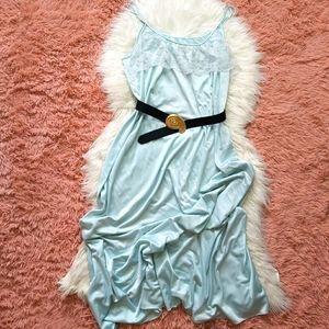 Vintage Long Pastel Slip Dress Lace Trim